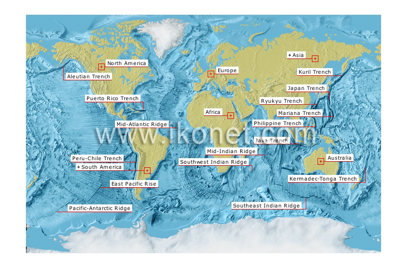 Earth geology ocean trenches and ridges image Visual Dictionary