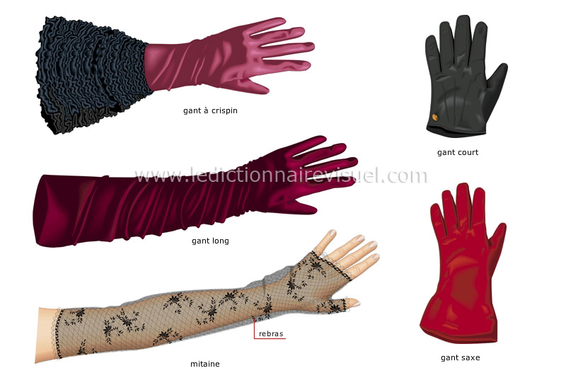 v tements gants gants de femme image dictionnaire visuel. Black Bedroom Furniture Sets. Home Design Ideas